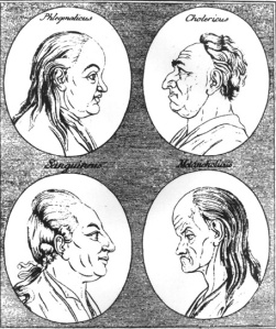 The four types of temperament proposed by humorism. Or how nobody has ever looked ever.